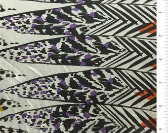 Orange Print Silk Jersey Knit, Fabric By The Yard