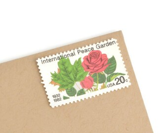 Pack of 25 Unused Peace Garden Stamps - 20c - Unused Vintage Postage - 1982 - Quantity of 25