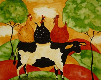 Farmhouse Hubbs Art Folk Prints Farm Animals Cow Chickens Country Whimsical