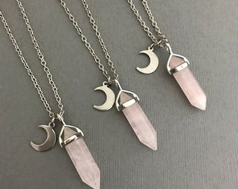 Crystal Necklace, Rose Quartz Crystal Moon Necklace Silver, Rose Quartz Necklace, Healing Cystals, Silver Crystal Jewelry