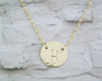 Bridesmaids gift set of 3 necklaces, Personalized Initial necklace, Hammered Gold Filled disc necklace, Personalized costum, Mother's day