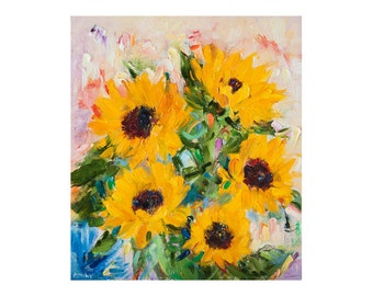 Sunflowers - Original Oil Painting, Canvas Impasto Thick Impressionist Art Floral Flowers Flower Sunflower Yellow Nature Paintings Abstract