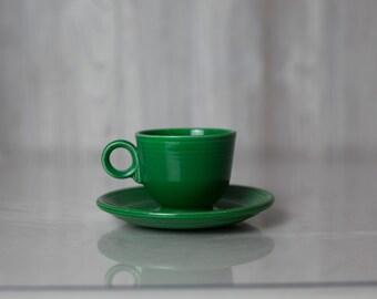Vintage Fiesta Ware ring handled Tea cup and saucer, medium green, cobalt,