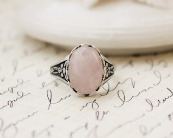 Rose Quartz Ring. Antique Silver or Antique Brass