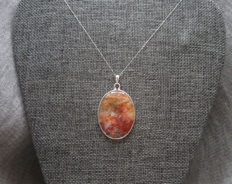 Feather Ridge Agate Cabochon Pendant in Sterling Silver | Oval Plume Agate Pendant |  Feather Ridge Agate Pendant |  Plume Agate Cabochon