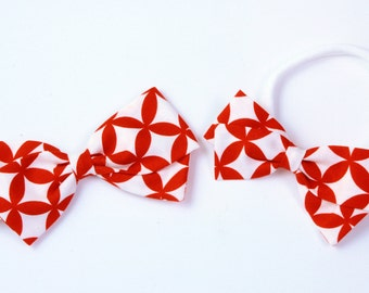 Red and White Bows - Hair Bows for Babies and Girls - Nylon Headbands and Hair Clips