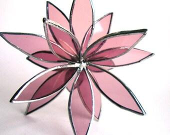 Pink Stained Glass 3D flower - Suncatcher - Home Decor