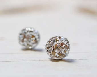 Set of 8 Silver Bridesmaids Earrings, 8 Pairs Tiny Silver Faux Druzy Earrings, Small 8mm Round Studs