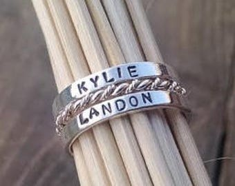 Stacking Ring Set with Kids Names, Gift for her, Valentines Day Gift for Wife, Personalized Jewelry, Stackable Custom Silver Rings, Date