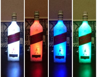 Bottle lamp led multi color red label whiskey lampshade multicolor 20 led