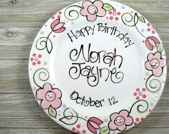 Personalized Birthday Plate with Flowers // Birthday Girl Gifts  sc 1 st  Etsy & Birthday plate | Etsy