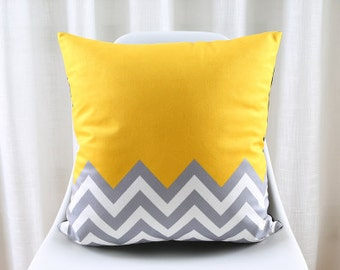 Decorative pillow cover/ Grey yellow white cushion cover/  Euro pillow /pillow sham custom made