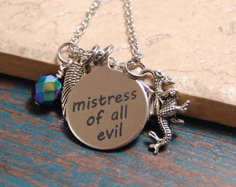 """QUICK SHIP, Disney's """"Maleficent"""" Necklace, Silver Chain,  Mistress of All Evil, engraved, Rainbow Black crystal"""