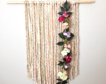 Wall Tapestry, Floral Wall Hanging, Wall Hangings, Modern Decor, Fiber Art,