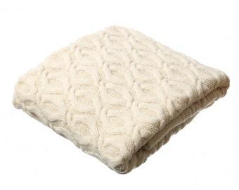 Merino wool blanket, cable knit blanket, soft knit merino blanket, white wool blanket, bed cover, warm blanket, wool bed throw, aran wrap