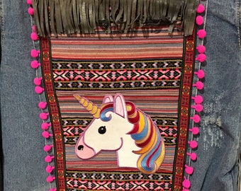 Unicorn Jacket-Vintage-90s-Denim-Upcycled-Unicorn-Hot Pink- Fluro-Fluoro-Tribal-Size Small-Pom Poms-Australia-Handmade-Original-OOAK-One Onl