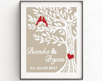 Wedding cross stitch pattern Love Birds Tree Of Life Mr and Mrs Wedding gift for Couples Easy cross stitch chart Modern cross stitch PDF