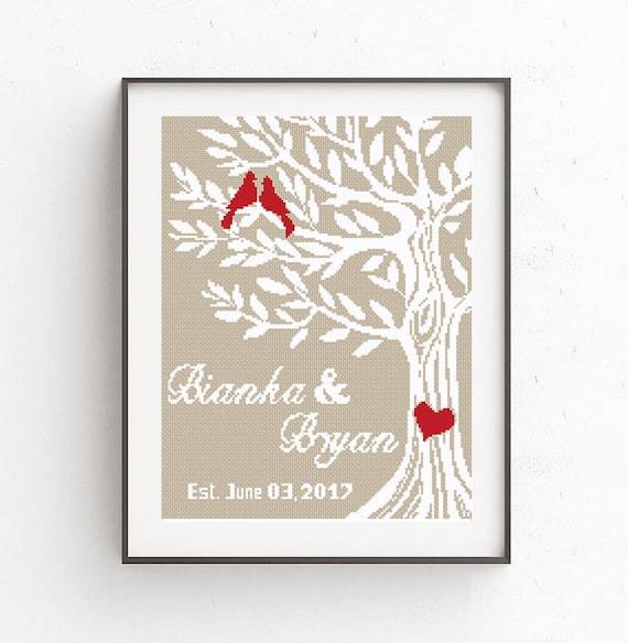 Wedding Cross Stitch Pattern Love Birds Tree Of Life Mr And
