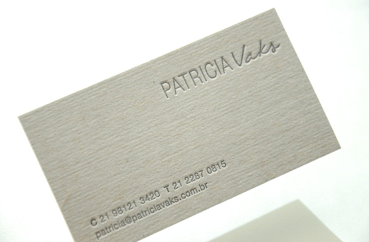Letterpress Business Cards Gray 05 mm thick cardboard