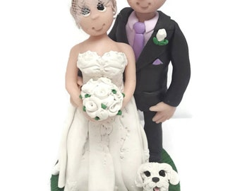 Wedding Cake Topper - CUSTOM cake topper, FUNNY cake topper, Wedding figurines, wedding topper, Older couple topper,dog wedding cake topper