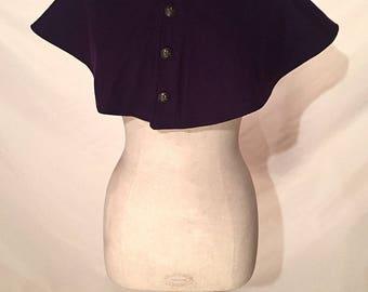 Wool Hood in Purple w/ Fleur De Lis