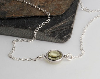 Small Yellow Crystal Necklace, Tiny Dot Silver Necklace, Small Karma, Tiny Dot Necklace, Bridesmaid, Wedding Jewelry, Dainty Necklace