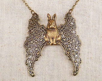 Animal Jewelry Bunny Angel Necklace Filigree Winged Rabbit. Detailed Antiqued Brass w/ Ornate Wings Pet Long-ear Cottontail Bunny Coney Hare