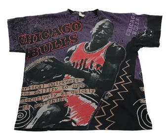 Vintage Michael Jordan Chicago Bulls All Over Print Tee Shirt NBA Basketball By Magic Johnson T's Large
