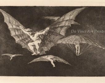 Fine Art Reproduction. Los Disparates: No 13 - Modo De Volar - A Way of Flying, Francisco Goya, 1819-1820. Fine Art Print
