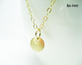 Tiny Gold Disc Necklace, Gold Coin Necklace, Gold Dot Necklace, Dainty Everyday Simple Necklace, Layering Necklace, Jewelry Gift for Her