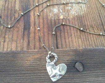 Heart Necklace Star Necklace Cowgirl Necklace Oxidized Sterling Silver Women's Chain necklace Western jewelry