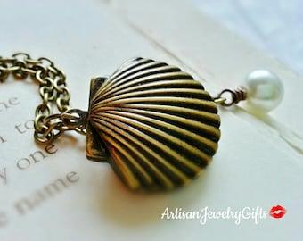 Antique Brass Seashell Locket Pearl Necklace Brass Clam Locket Nautical Necklace Brass Seashell Locket Mermaid Locket Gift For Her Jewelry