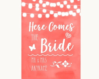 Coral Watercolour Lights Here Comes Bride Aisle Personalised Wedding Sign