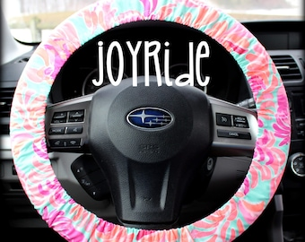 Lilly Pulitzer Fabric Steering Wheel Cover Lovebirds Fully lined with Grip Tight Designer Car Accessories Designer