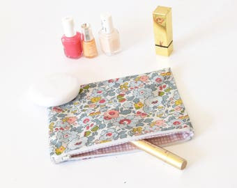 Makeup pouch, travel pouch, liberty of london, gift for her, cosmetic pouch, coworker gift, pink, traveler gift, vacation gift, flowers