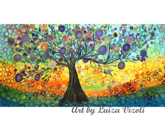 "ORIGINAL Extra Large Painting 72"" Original Whimsical Kalamata OLIVE Tree  Painting HUGE Canvas by Luiza Vizoli"