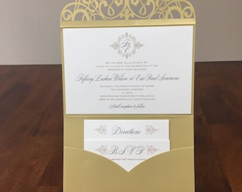 Horizontal Laser Cut Wedding Invitations Pocket Tri-fold Wedding Invitation Laser Cut Traditional Metallic Gold Wedding Invites Laser Cut