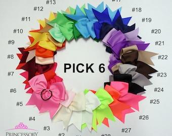 """cheer bows - cheerbows - pink cheer bow - purple cheer bow - green cheer bow - cheerleading bow - white cheer bow - 7"""" x 8"""""""