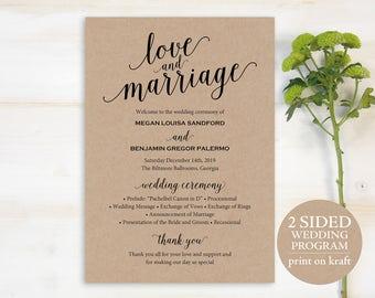 Wedding Program Template, Rustic Wedding Program, Printable Program, DIY Wedding Program, Program Template, Ceremony Program, PDF, MM01-2