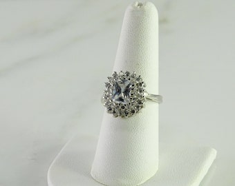 Sterling Silver CZ Cluster Ring Size 8