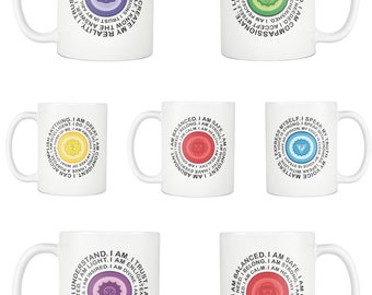 Yoga Love Coffee Tea White Mug Gift - Throat Heart Crown Sacral Solar Plexus Third Eye Root Chakra Mantra Yogi Birthday Cup Yogism Present
