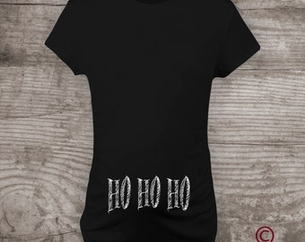 """Personalized funny Christmas Maternity t-shirt Pregnancy Announcement Maternity Mommy to be Shirt """"HO, HO, HO"""" -a200"""