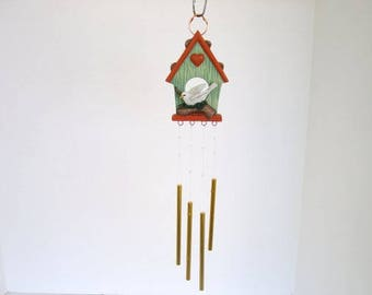 Wind chime, ceramic birdhouse chime, birdhouse with white dove