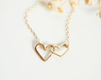 Heart Necklace, Gold Heart Necklace, Heart Jewelry, Mom Necklace, Heart Pendant, Interlocked Heart Necklace, Double Heart Necklace