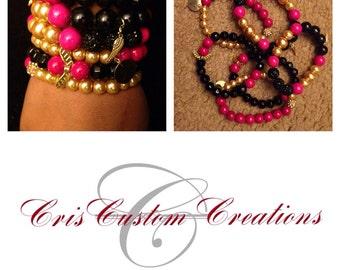 6 strand hot pink, gold, & black bracelet set