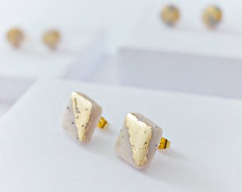 Marble and Gold Leaf Stud Earrings, Handmade Square Studs, Polymer Clay, White Marble, Gold Leaf Jewellery, Minimal Earrings, Gift for her