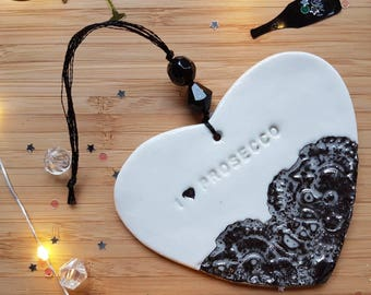Black prosecco heart decoration, prosecco decoration, I love prosecco, hanging heart, heart decoration, birthday, mother's day gift