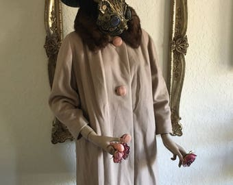Vintage Fur Collar Wool Coat