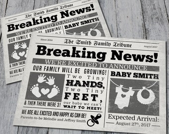 Newspaper Pregnancy Announcement (Digital)