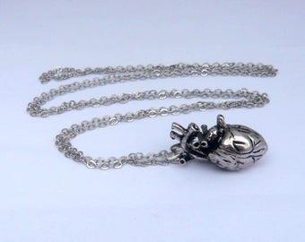 steampunk silver anatomical heart human body Anatomy skull skeleton necklace